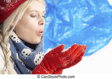 porter, femme, hiver, neige, jeune, chaud, studio, tenue,...
