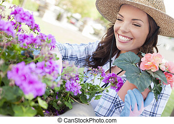 porter, femme, jardinage, jeune adulte, dehors, chapeau