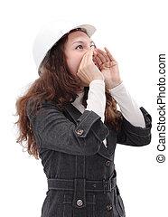 porter, femme, jeune, isolé, protecteur, architecte, fond, blanc, casque, standing.