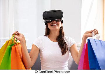 porter, femme, jeune, réalité virtuelle, heureux, lunettes