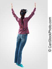 porter, femme, jeune, réalité virtuelle, lunettes