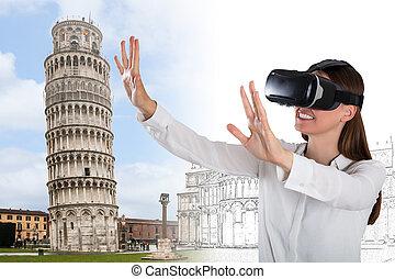 porter, femme, jeune, réalité virtuelle, sourire, lunettes