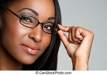 porter, femme, lunettes