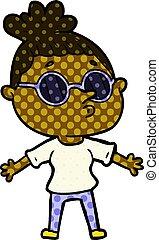 porter, femme, lunettes soleil, dessin animé