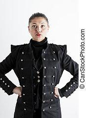 porter, femme, manteau, jeune, extravagant, portrait