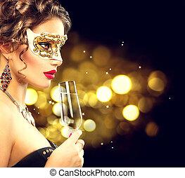 porter, femme, masque mascarade, vénitien, verre, sexy, modèle, champagne