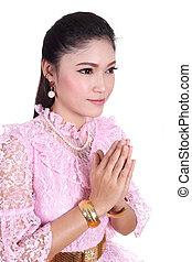 porter, femme, payer, respect, thaï, robe, typique