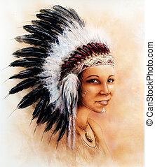 porter, femme, peinture, jeune, illustration, indien, magnifique, exploit