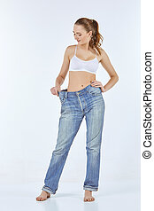 porter, femme, vieux, jean, became, maigre