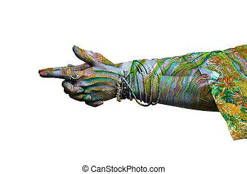 porter, femme, yoga, lot, mudra, double, symbolique, anneaux, bracelets, mains, geste, exposition