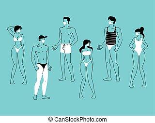 porter, figure, groupe, gens, masque, plage