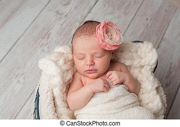 porter, fleur, nouveau-né, girl, bandeau