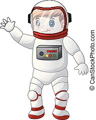porter, garçon, astronaute, dessin animé, déguisement