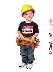 porter, garçon, construction, jeune, habit