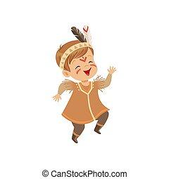 porter, garçon, danse, indien, illustration, américain, vecteur, déguisement, fond, blanc, indigène, jouer, coiffure, gosse