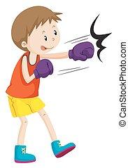 porter, garçon, gants boxe
