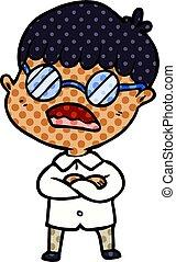 porter, garçon, lunettes, bras croisés, dessin animé