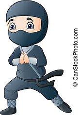 porter, garçon, noir, déguisement, ninja, dessin animé