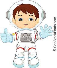 porter, garçon, peu, astronaute, déguisement, dessin animé
