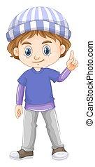 porter, garçon, peu, chemise bleue
