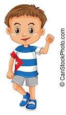 porter, garçon, peu, chemise, drapeau cuba