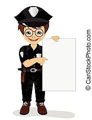 porter, garçon, peu, police uniforme, planche, tenue, vide, sourire
