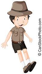 porter, garçon, peu, safari, équipement
