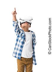 porter, garçon, pointage, casque à écouteurs, haut, virtuel, isolé, américain, doigt, africaine, blanc, réalité