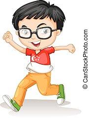 porter, garçon, singapour, lunettes