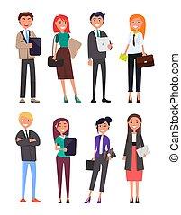 porter, gens, illustration, vecteur, usure, formel