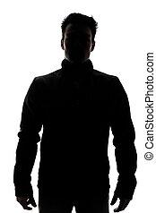 porter, gilet, mâle, silhouette, figure