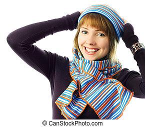 porter, girl, chapeau, écharpe, heureux