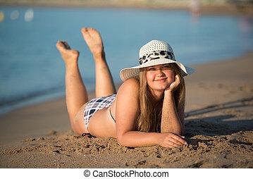 porter, girl, chapeau, bains de soleil