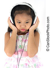 porter, girl, headphones.