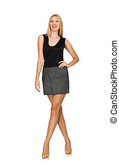 porter, gris, isolé, cheveux, blonds, modèle, jupe, blanc