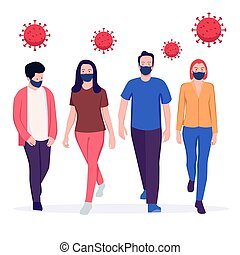 porter, groupe, monde médical, gens, masque