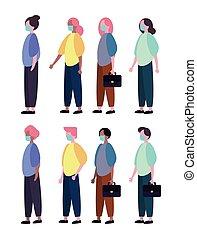 porter, groupe, monde médical, masque, gens, caractères