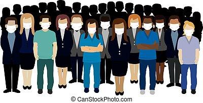 porter, groupe, ouvrier, masque de protection