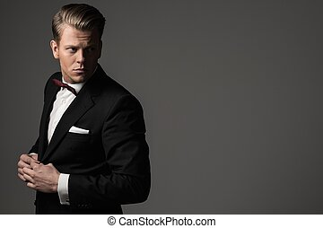 porter, habillé, fashionist, arc, veste, dièse, cravate