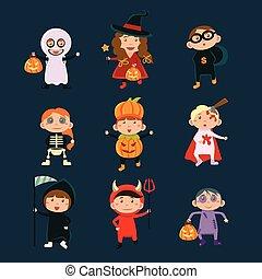 porter, halloween, costumes, illustration, vecteur, enfants
