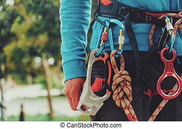 porter, harnais, sécurité, grimpeur, rocher