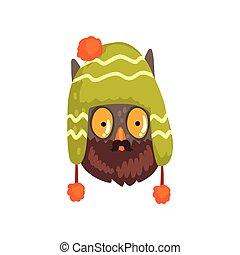 porter, hibou, hiver, illustration, oiseau, tricoté, vecteur, hipster, chapeau, fond, portrait, blanc, dessin animé
