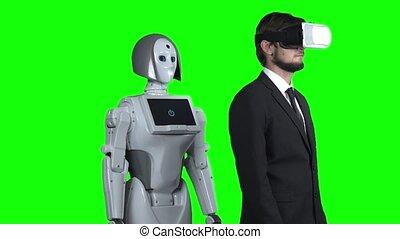 porter, him., sien, met, après, robot, réalité virtuelle, mouvement, lent, vert, screen., main, type, répétitions, côté, lunettes