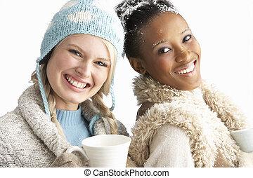 porter, hiver, jeune, deux, boule de neige, chaud, studio,...