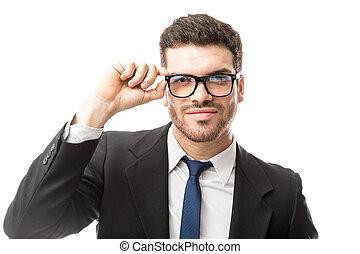 porter, homme affaires, lunettes