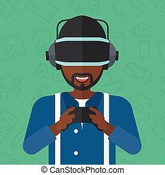 porter, homme, headset., réalité virtuelle