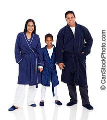 porter, indien, pyjamas, famille