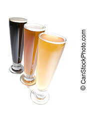 Three types of beer dark porter India pale ale and cerveza