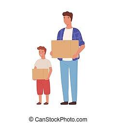 porter, isolé, boîte, relocalisation, dessin animé, mâle, ...