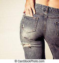 porter, jean, femme, trous, short